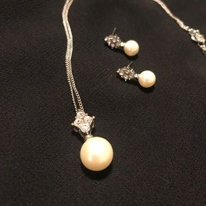 White pearl and rhinestone necklace and earrings